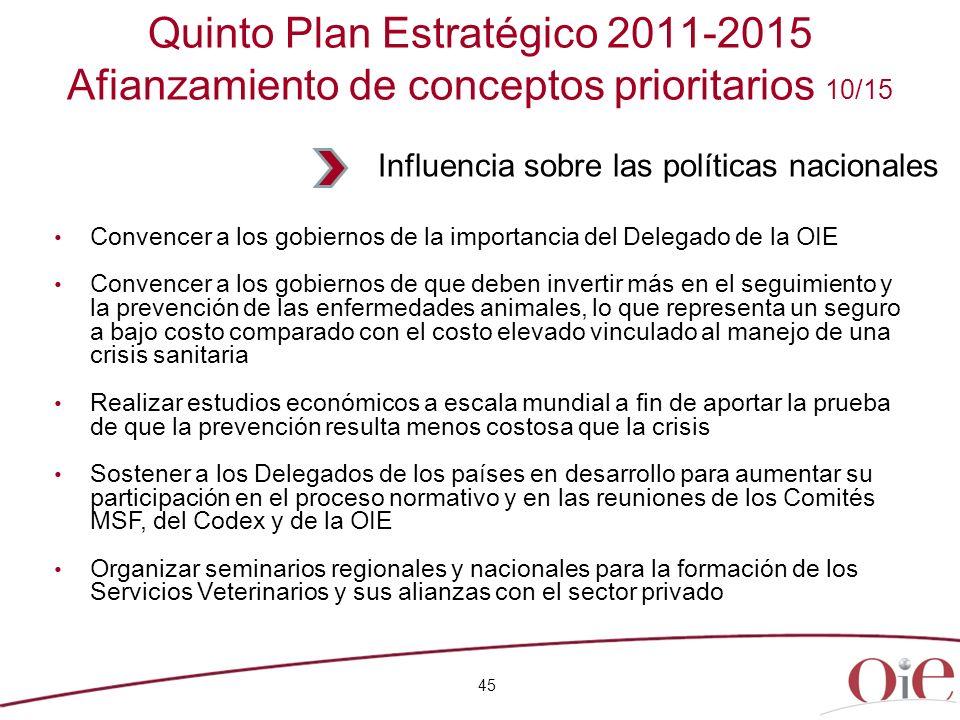 Quinto Plan Estratégico 2011-2015 Afianzamiento de conceptos prioritarios 10/15