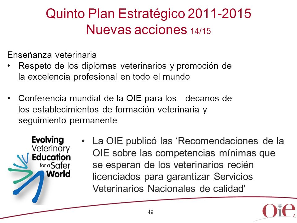 Quinto Plan Estratégico 2011-2015 Nuevas acciones 14/15