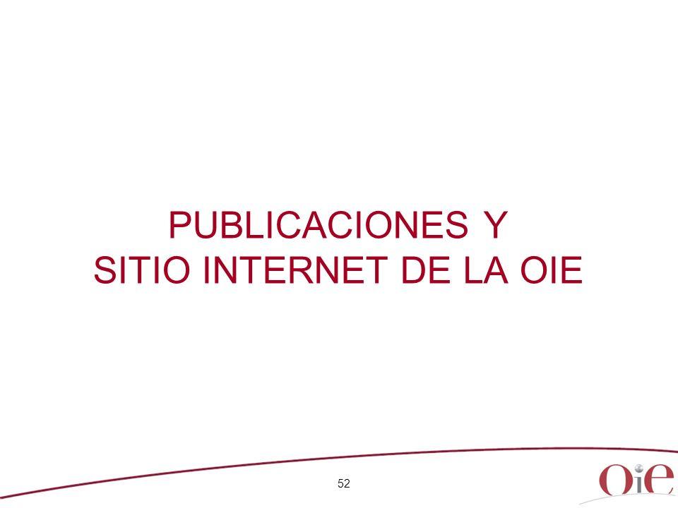 PUBLICACIONES Y SITIO INTERNET DE LA OIE