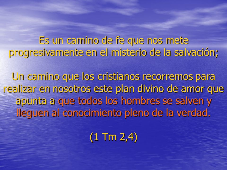 Es un camino de fe que nos mete progresivamente en el misterio de la salvación;