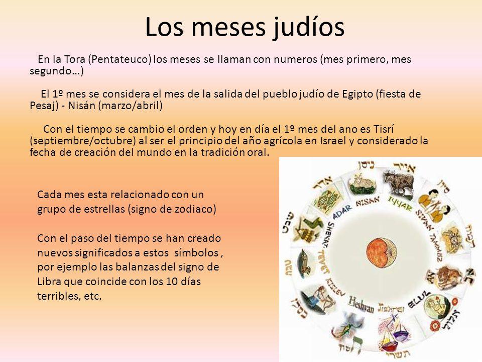 Los meses judíos En la Tora (Pentateuco) los meses se llaman con numeros (mes primero, mes segundo…)