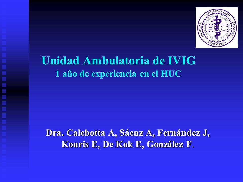 Unidad Ambulatoria de IVIG 1 año de experiencia en el HUC