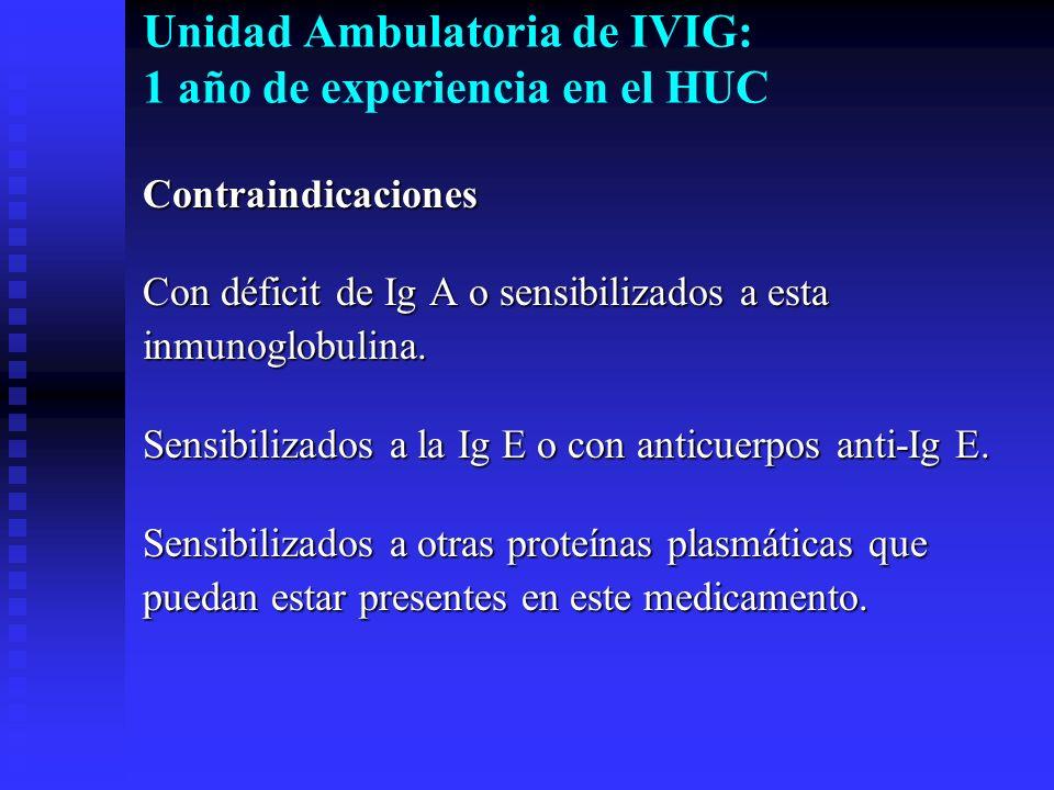 Unidad Ambulatoria de IVIG: 1 año de experiencia en el HUC