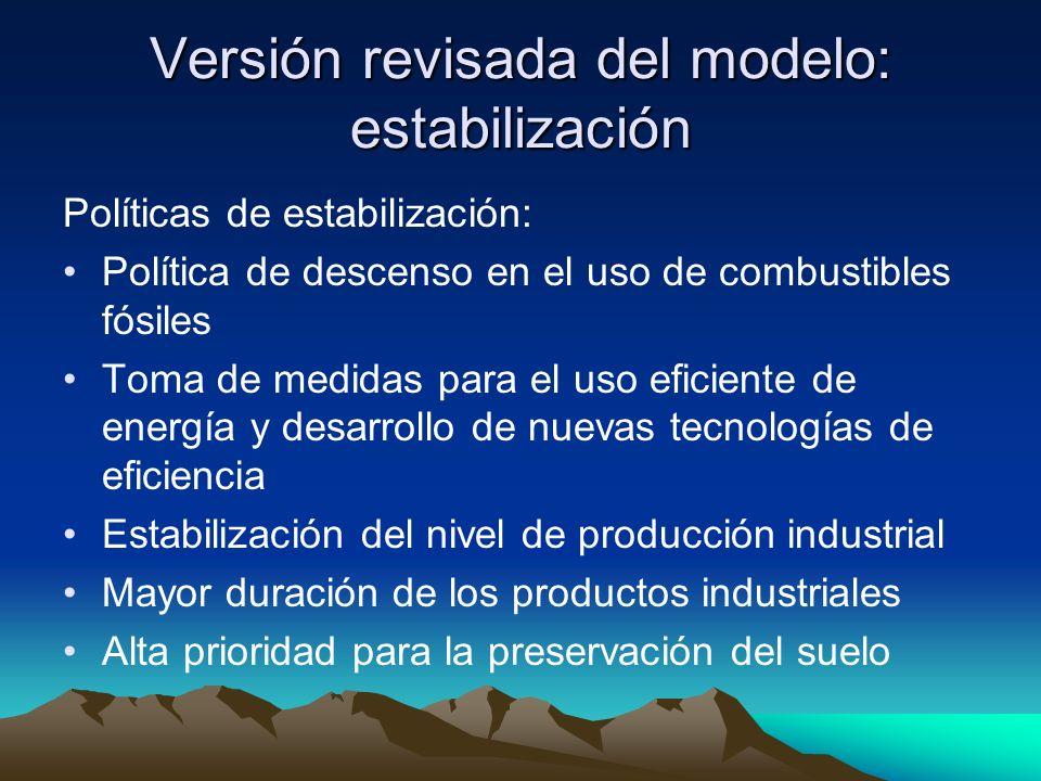 Versión revisada del modelo: estabilización