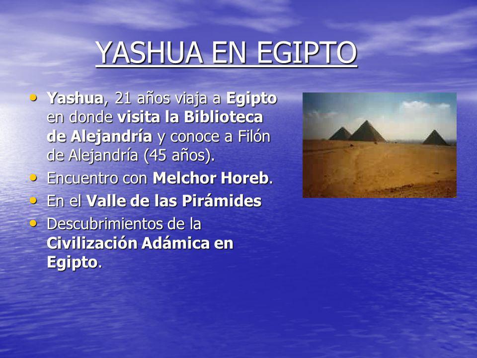 YASHUA EN EGIPTO Yashua, 21 años viaja a Egipto en donde visita la Biblioteca de Alejandría y conoce a Filón de Alejandría (45 años).