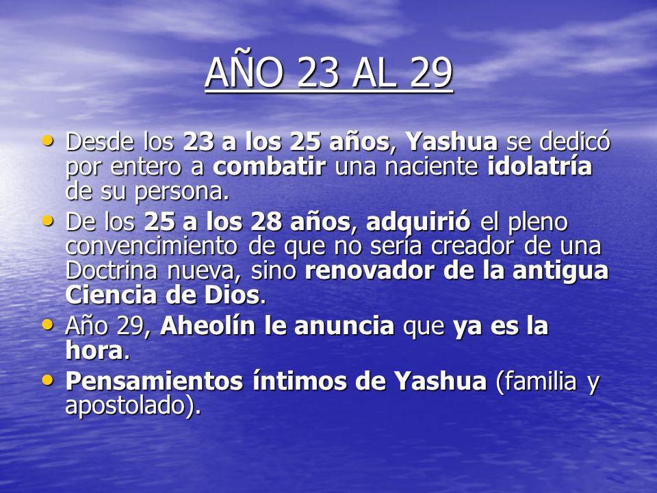 AÑO 23 AL 29Desde los 23 a los 25 años, Yashua se dedicó por entero a combatir una naciente idolatría de su persona.