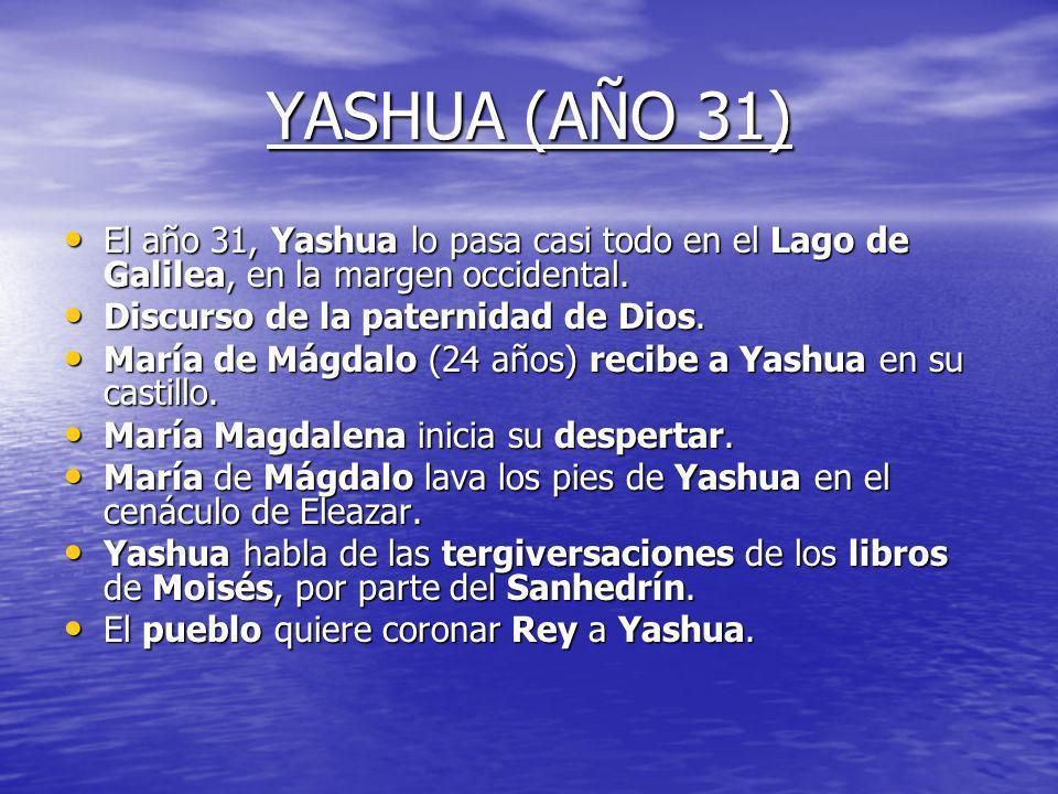 YASHUA (AÑO 31)El año 31, Yashua lo pasa casi todo en el Lago de Galilea, en la margen occidental. Discurso de la paternidad de Dios.