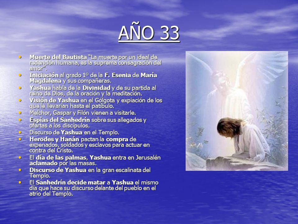 AÑO 33 Muerte del Bautista La muerte por un ideal de redención humana, es la suprema consagración del amor .