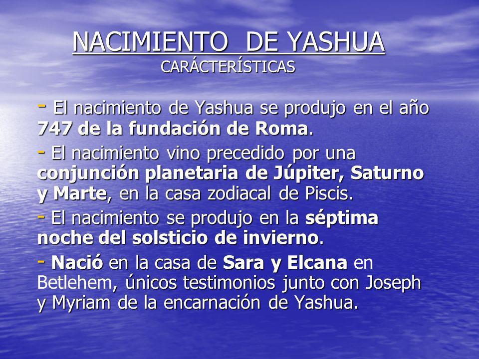 NACIMIENTO DE YASHUA CARÁCTERÍSTICAS