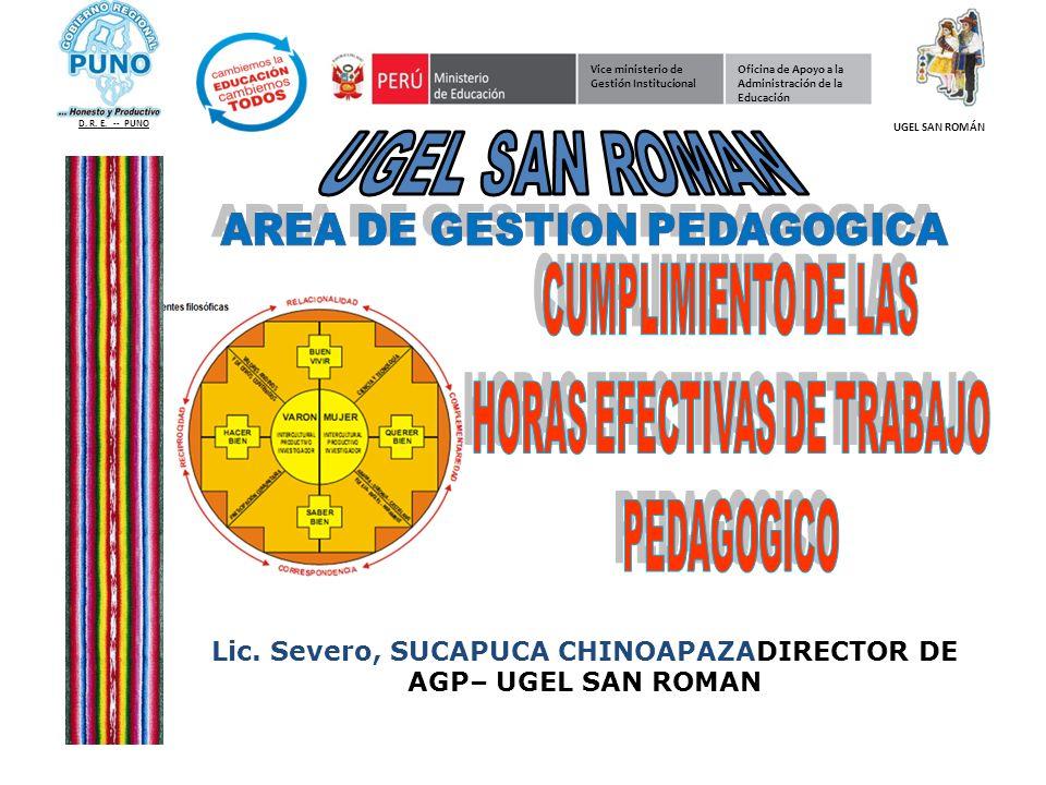 Lic. Severo, SUCAPUCA CHINOAPAZADIRECTOR DE AGP– UGEL SAN ROMAN
