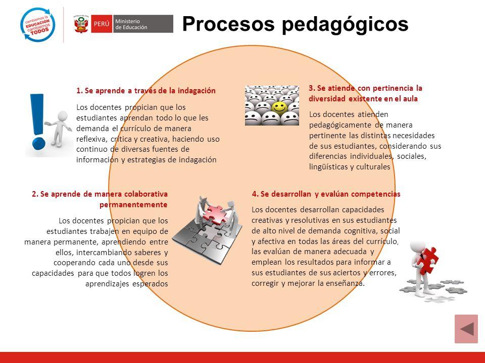 Procesos pedagógicos 1. Se aprende a través de la indagación. 3. Se atiende con pertinencia la diversidad existente en el aula.