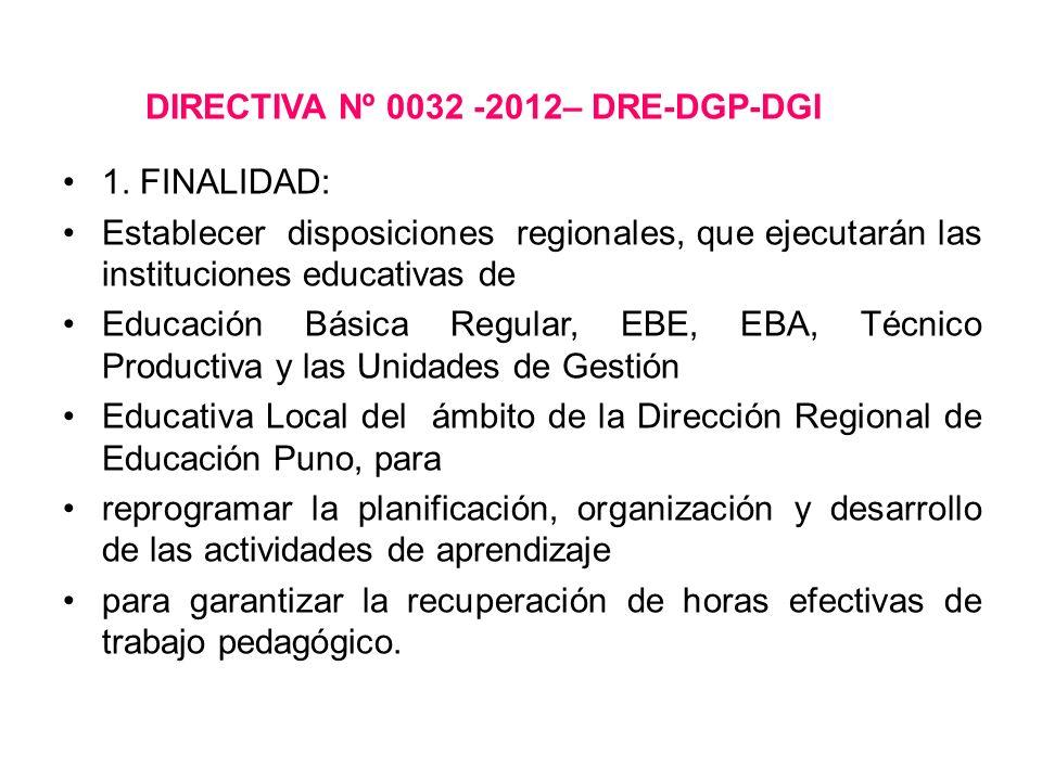 DIRECTIVA Nº 0032 -2012– DRE-DGP-DGI