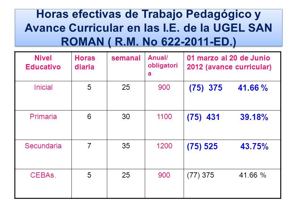Horas efectivas de Trabajo Pedagógico y Avance Curricular en las I. E