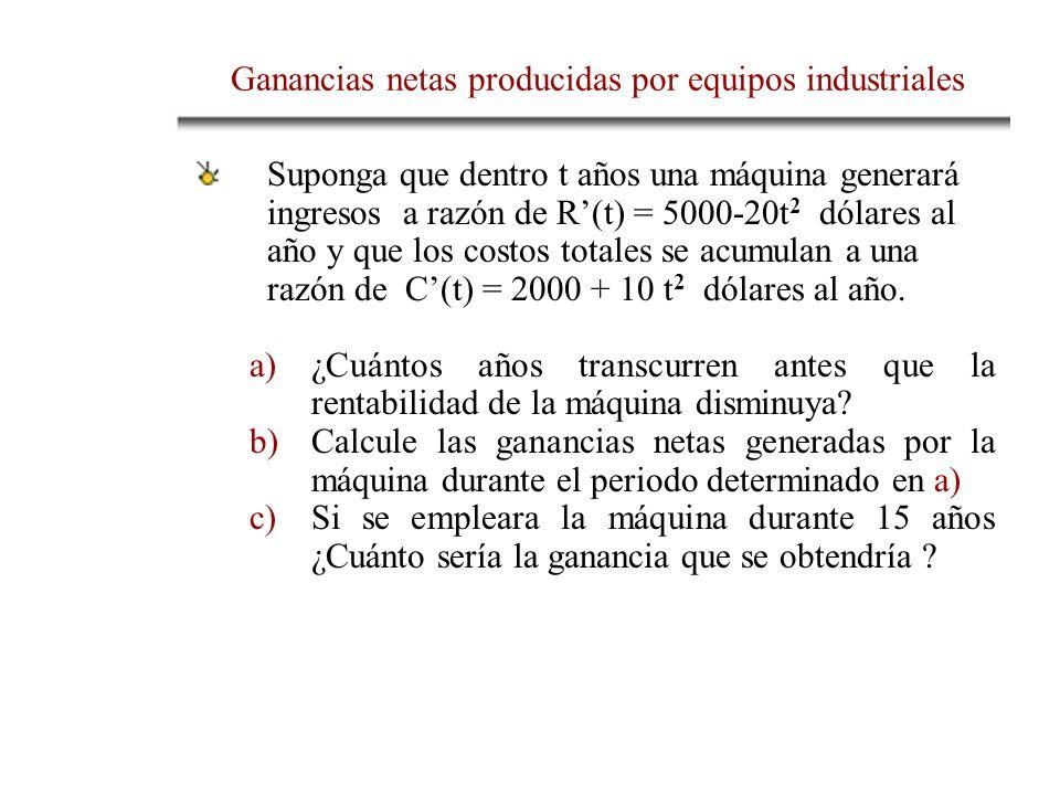 Ganancias netas producidas por equipos industriales