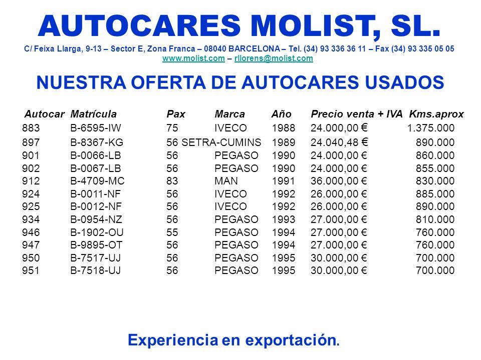 NUESTRA OFERTA DE AUTOCARES USADOS Experiencia en exportación.