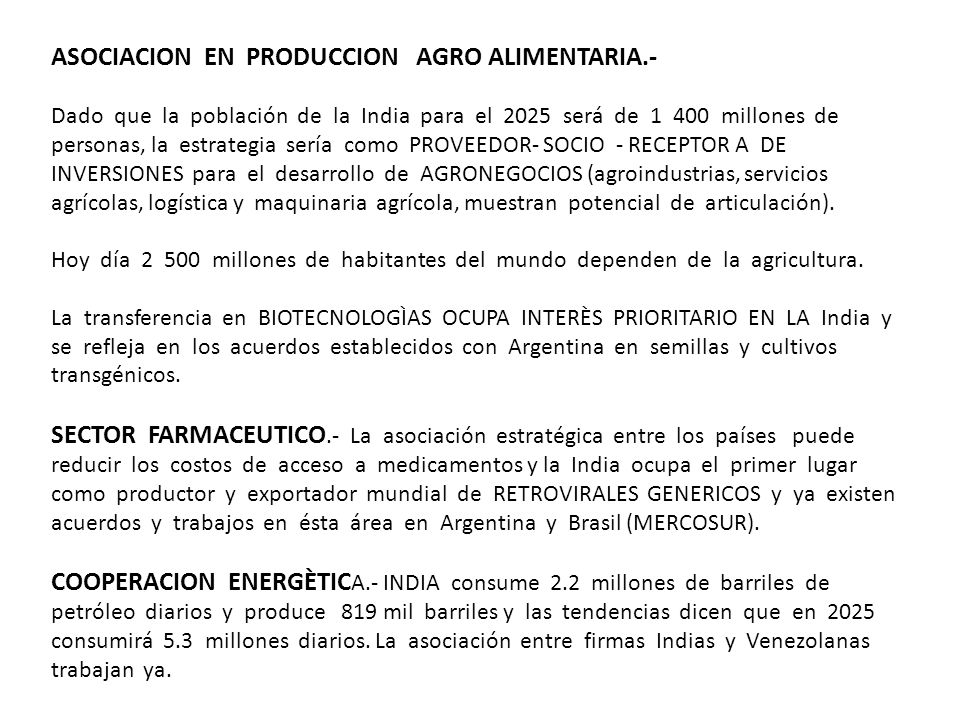 ASOCIACION EN PRODUCCION AGRO ALIMENTARIA.-