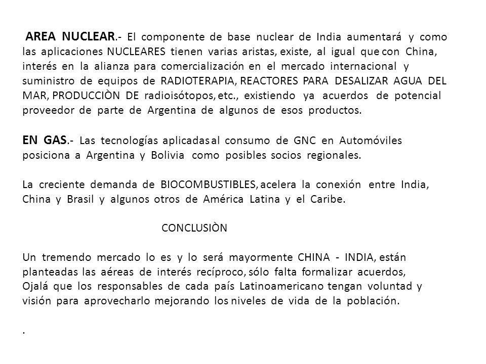 AREA NUCLEAR.- El componente de base nuclear de India aumentará y como las aplicaciones NUCLEARES tienen varias aristas, existe, al igual que con China, interés en la alianza para comercialización en el mercado internacional y suministro de equipos de RADIOTERAPIA, REACTORES PARA DESALIZAR AGUA DEL MAR, PRODUCCIÒN DE radioisótopos, etc., existiendo ya acuerdos de potencial proveedor de parte de Argentina de algunos de esos productos.