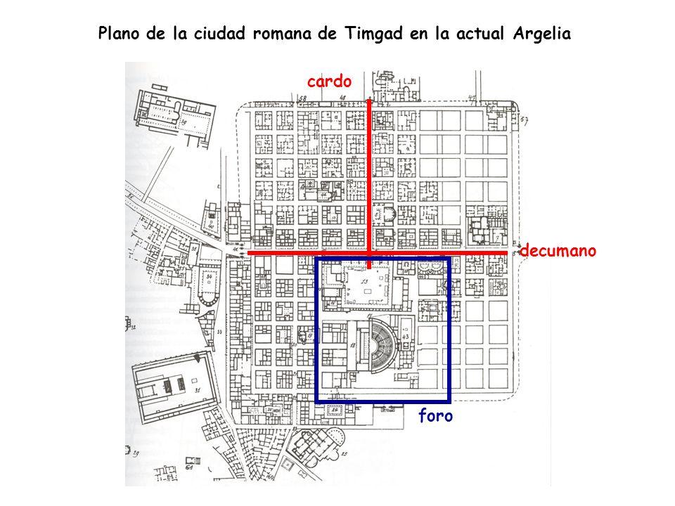 Plano de la ciudad romana de Timgad en la actual Argelia