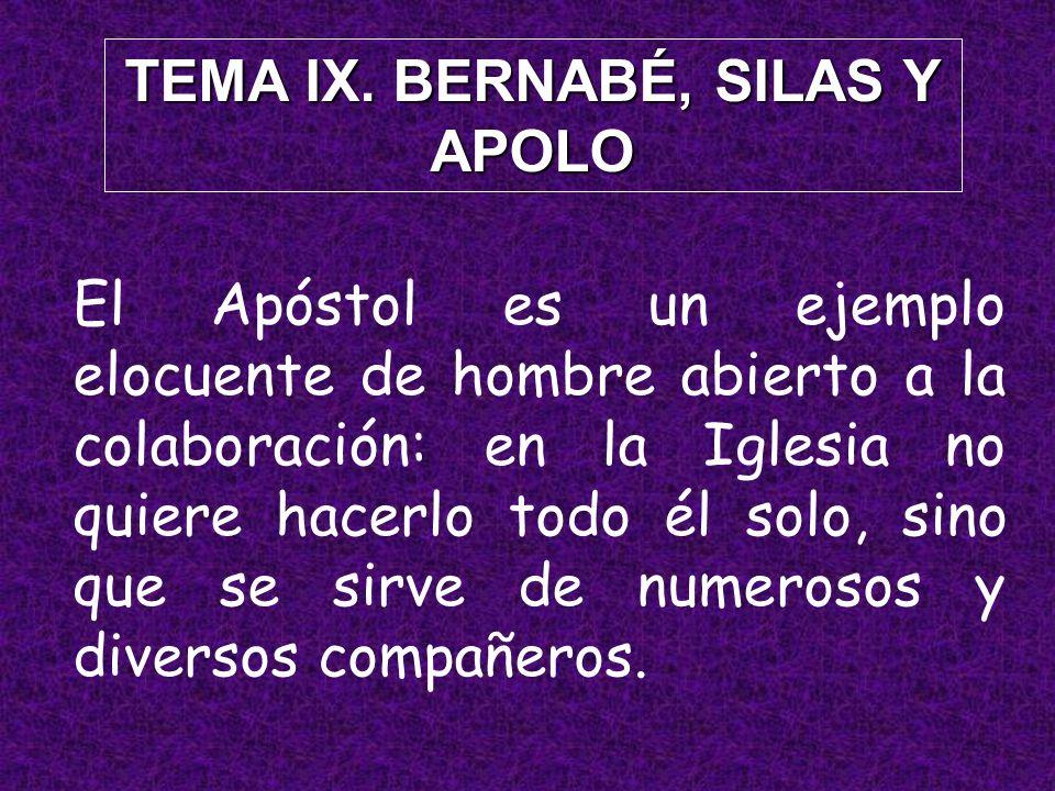 TEMA IX. BERNABÉ, SILAS Y APOLO