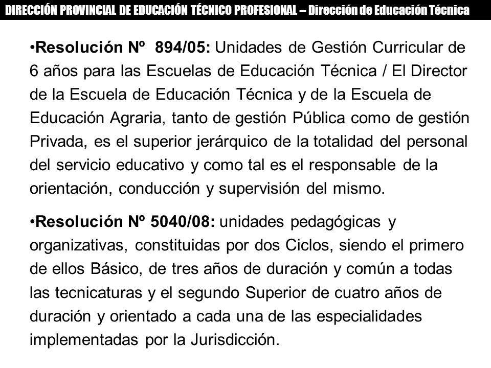 DIRECCIÓN PROVINCIAL DE EDUCACIÓN TÉCNICO PROFESIONAL – Dirección de Educación Técnica