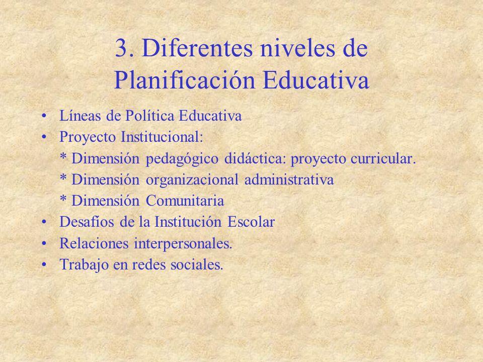3. Diferentes niveles de Planificación Educativa