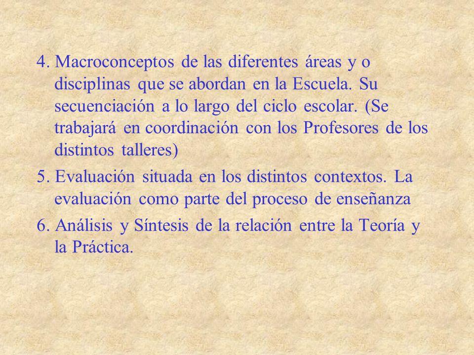 4. Macroconceptos de las diferentes áreas y o disciplinas que se abordan en la Escuela. Su secuenciación a lo largo del ciclo escolar. (Se trabajará en coordinación con los Profesores de los distintos talleres)