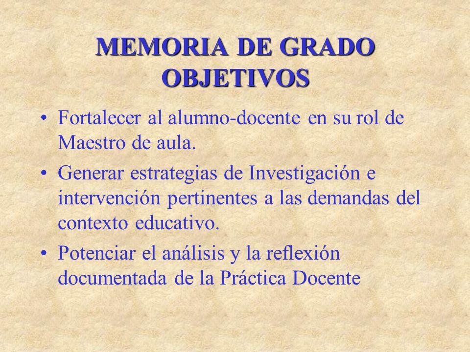 MEMORIA DE GRADO OBJETIVOS