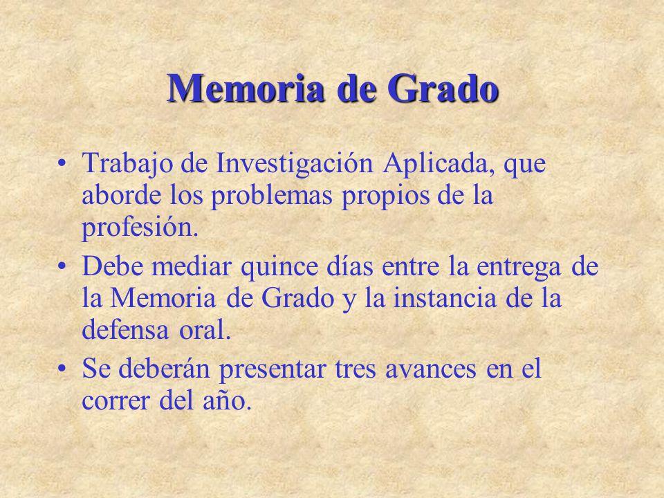 Memoria de Grado Trabajo de Investigación Aplicada, que aborde los problemas propios de la profesión.