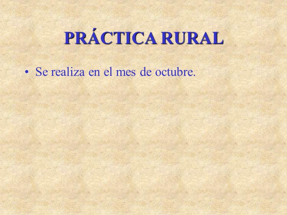 PRÁCTICA RURAL Se realiza en el mes de octubre.