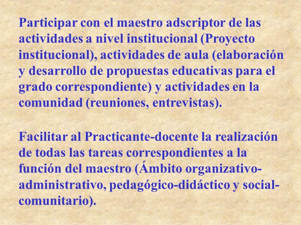 Participar con el maestro adscriptor de las actividades a nivel institucional (Proyecto institucional), actividades de aula (elaboración y desarrollo de propuestas educativas para el grado correspondiente) y actividades en la comunidad (reuniones, entrevistas).