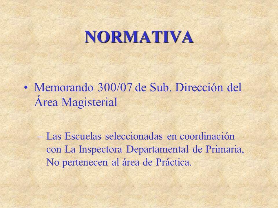 NORMATIVA Memorando 300/07 de Sub. Dirección del Área Magisterial