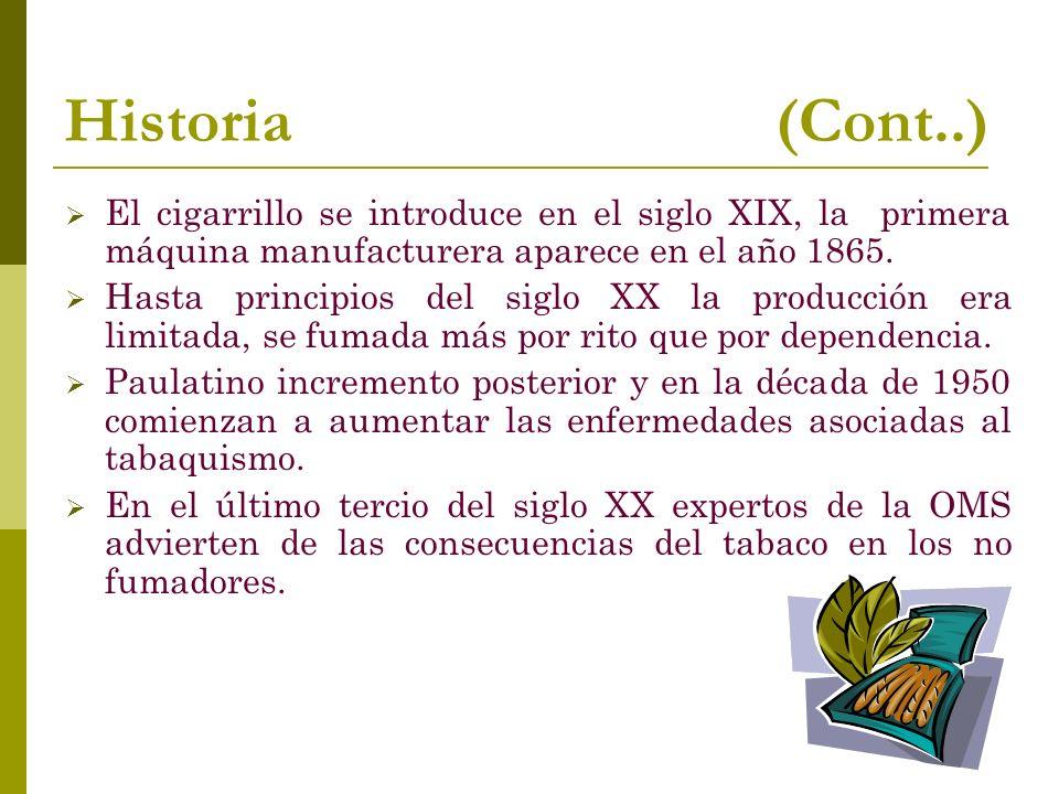 Historia (Cont..) El cigarrillo se introduce en el siglo XIX, la primera máquina manufacturera aparece en el año 1865.