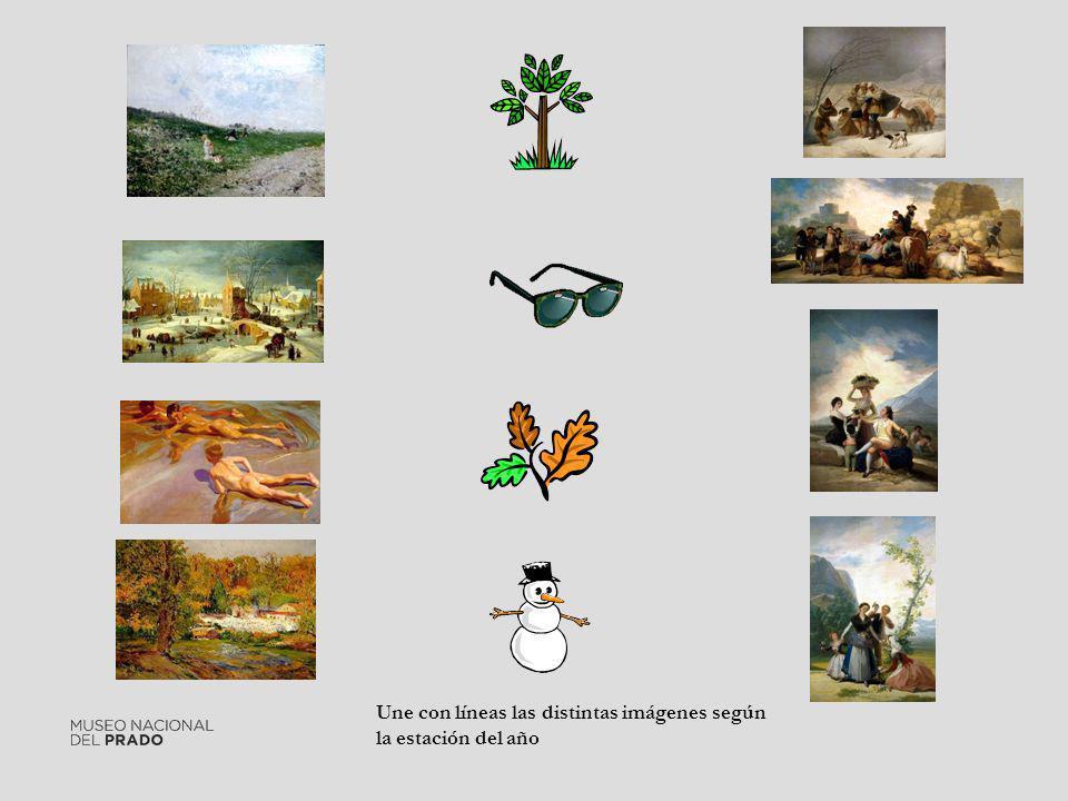 Une con líneas las distintas imágenes según la estación del año