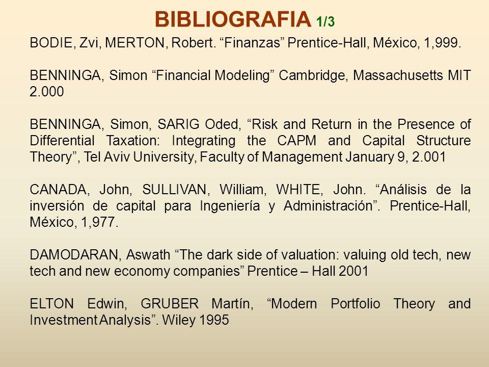 BIBLIOGRAFIA 1/3 BODIE, Zvi, MERTON, Robert. Finanzas Prentice-Hall, México, 1,999.