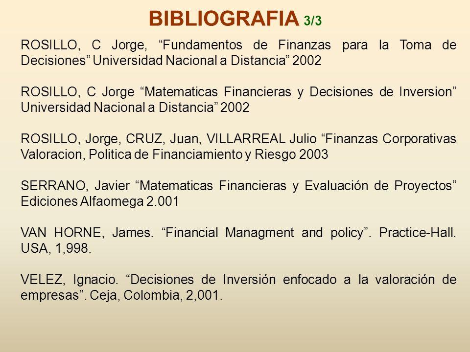 BIBLIOGRAFIA 3/3 ROSILLO, C Jorge, Fundamentos de Finanzas para la Toma de Decisiones Universidad Nacional a Distancia 2002.