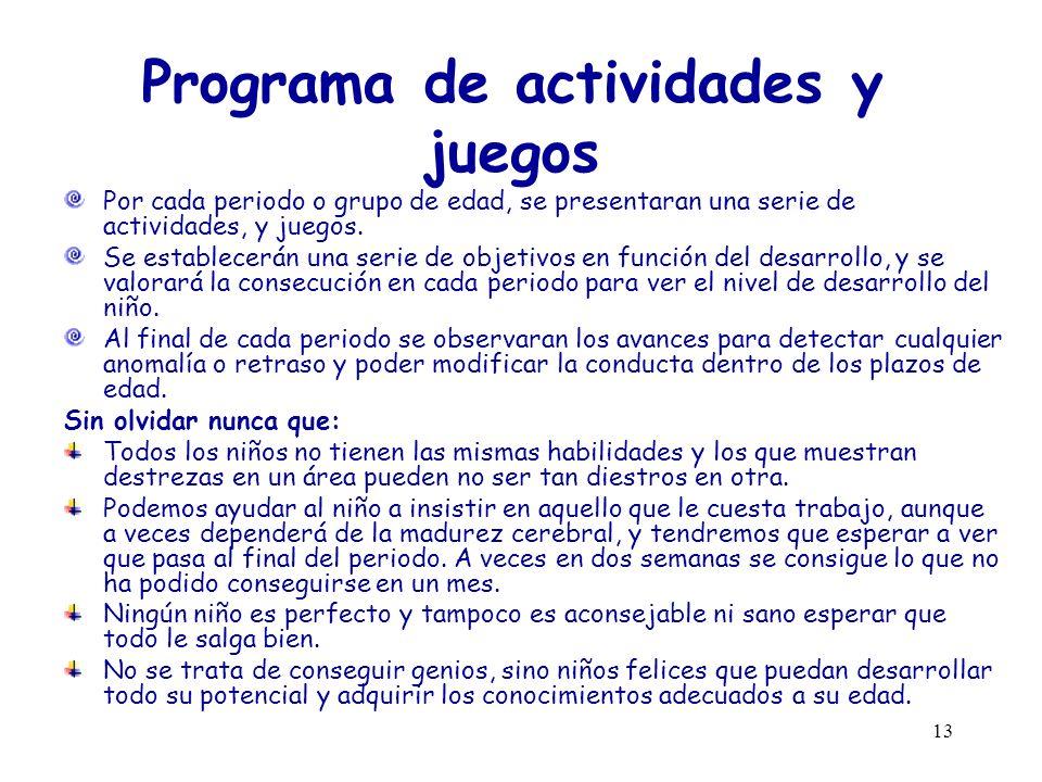 Programa de actividades y juegos