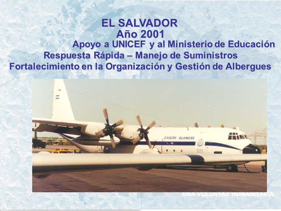 EL SALVADOR Año 2001 Apoyo a UNICEF y al Ministerio de Educación