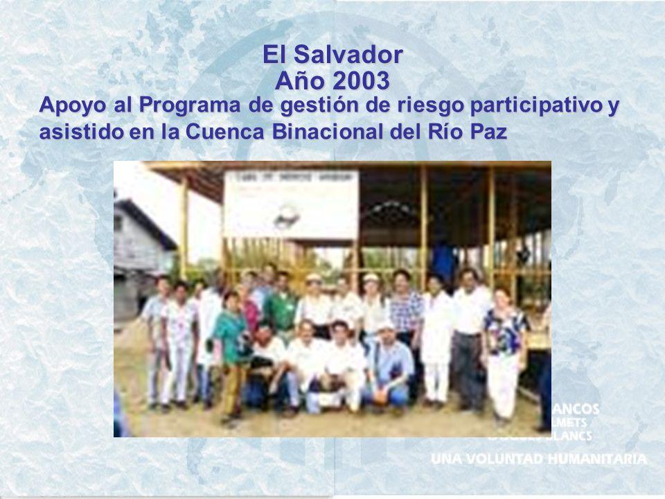El Salvador Año 2003. Apoyo al Programa de gestión de riesgo participativo y.