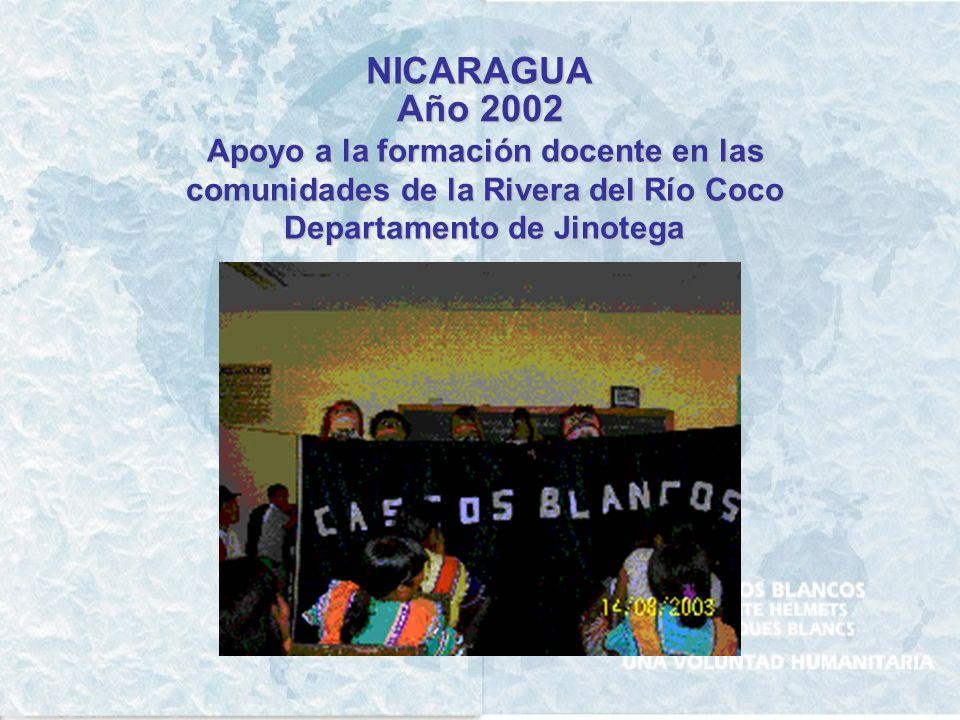 NICARAGUA Año 2002 Apoyo a la formación docente en las