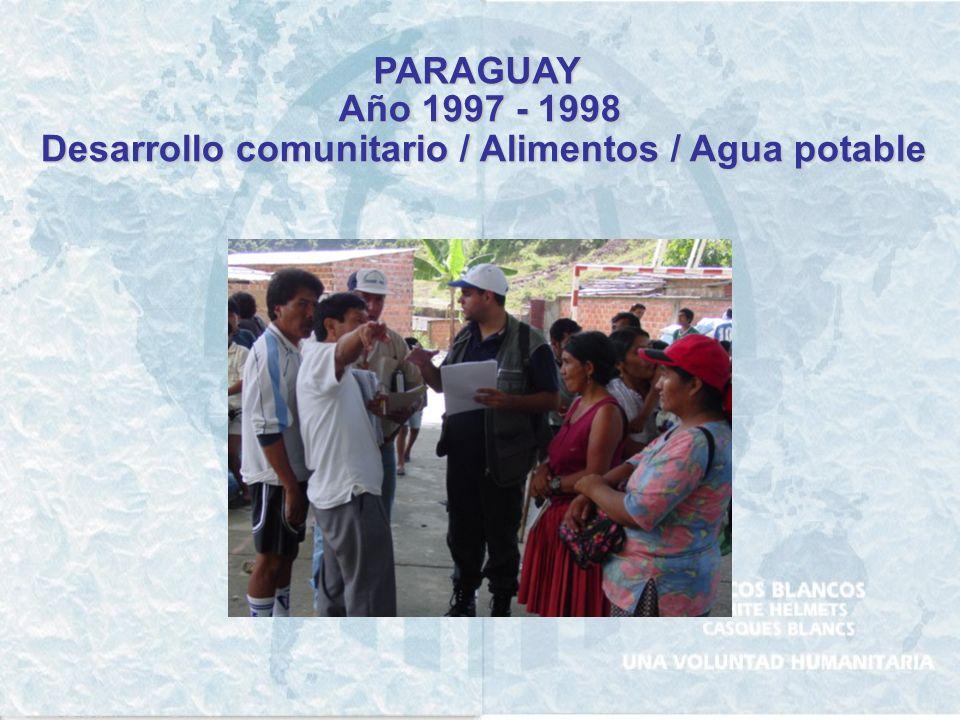 Desarrollo comunitario / Alimentos / Agua potable