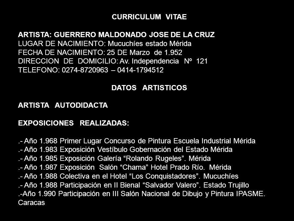 CURRICULUM VITAE ARTISTA: GUERRERO MALDONADO JOSE DE LA CRUZ. LUGAR DE NACIMIENTO: Mucuchíes estado Mérida.