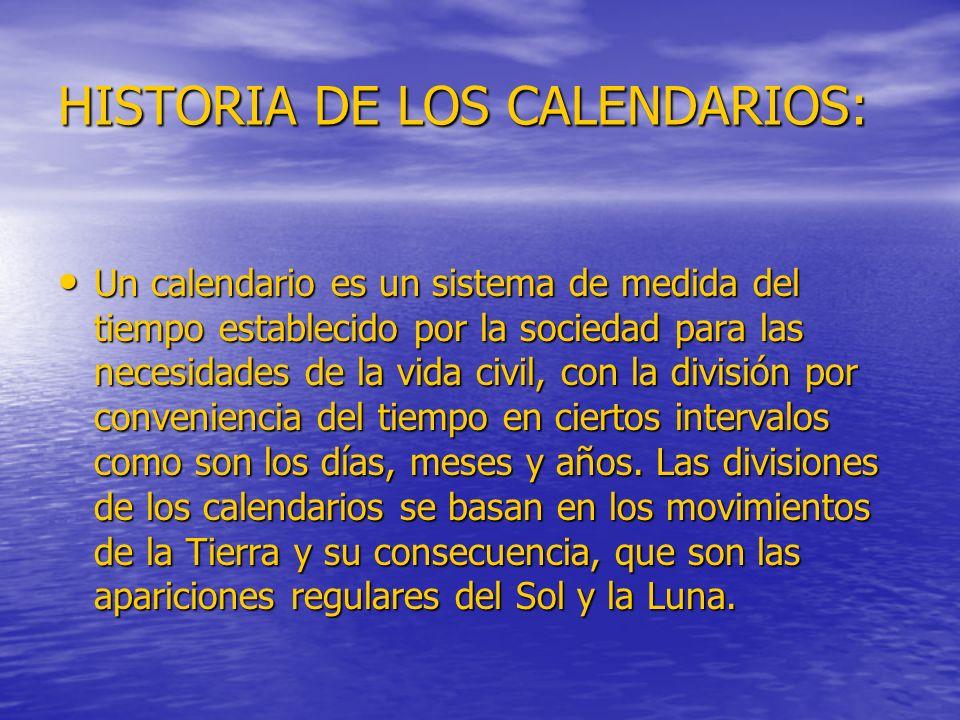 HISTORIA DE LOS CALENDARIOS: