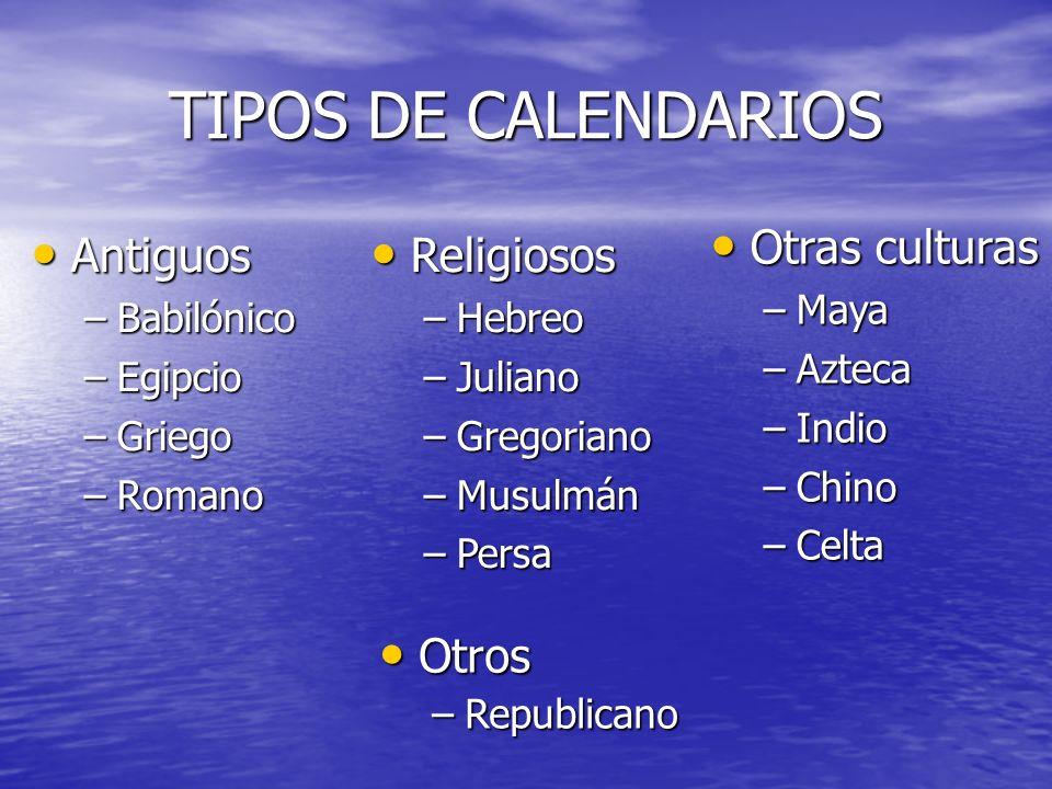 TIPOS DE CALENDARIOS Otras culturas Antiguos Religiosos Otros Maya