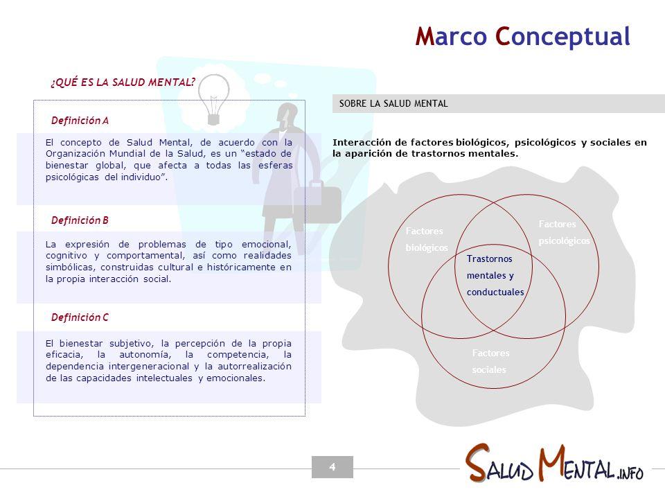 Marco Conceptual ¿QUÉ ES LA SALUD MENTAL Definición A Definición B
