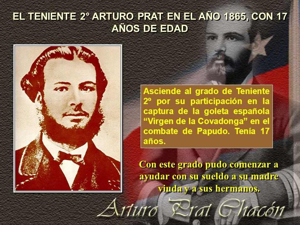 EL TENIENTE 2° ARTURO PRAT EN EL AÑO 1865, CON 17 AÑOS DE EDAD