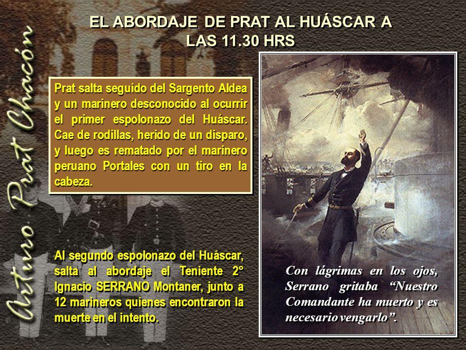 EL ABORDAJE DE PRAT AL HUÁSCAR A LAS 11.30 HRS