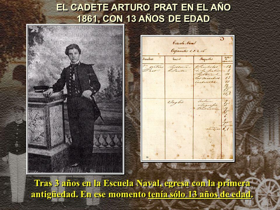 EL CADETE ARTURO PRAT EN EL AÑO 1861, CON 13 AÑOS DE EDAD