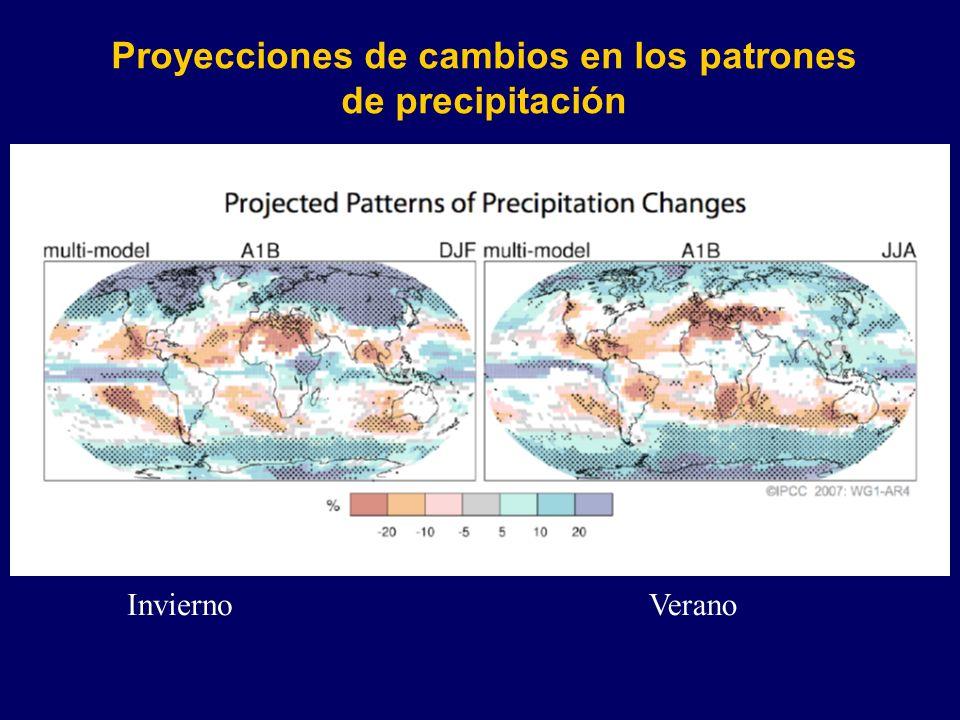 Proyecciones de cambios en los patrones de precipitación