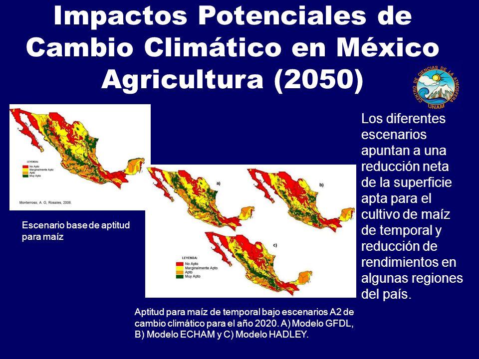 Impactos Potenciales de Cambio Climático en México Agricultura (2050)