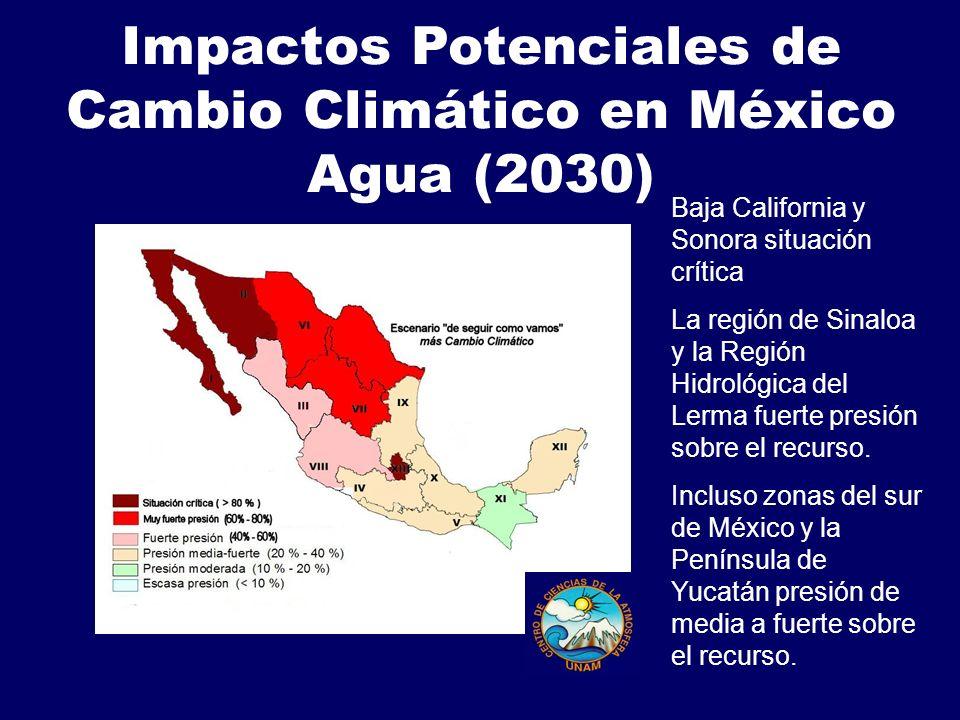 Impactos Potenciales de Cambio Climático en México Agua (2030)